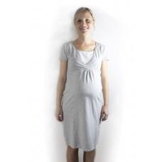 Nočná tehotenská košeľa na kojenie s výstrihom